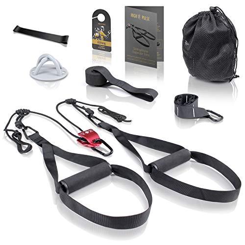 High Pulse® Schlingentrainer Set (7-TLG.) – Umfassendes Sling Trainer Kit mit Umlenkrolle, Türanker, Wandbefestigung, Poster, Türschild, Tasche und Fitnessband für EIN effektives Ganzkörpertraining