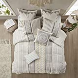 INK+IVY 100% Cotton Comforter Mid Century Modern Design All Season Bedding Set, Matching Shams, Full/Queen(88'x92'), Imani, Ivory Chenille Tufted Accent 3 Piece