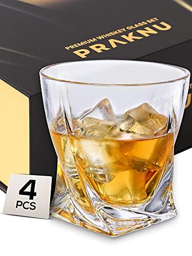 Bicchieri da Whisky di Vetro da 270 ml - Set di 4 - Design Twisted - Bicchiere da Whiskey in Confezione Regalo