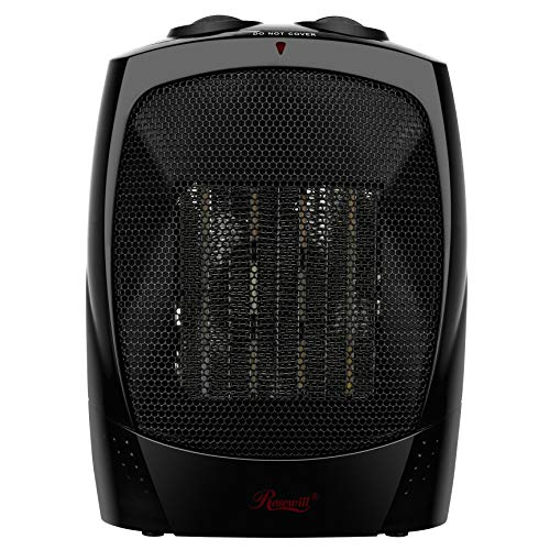 Rosewill Space Heater, Bathroom Heater with Adjustable Thermostat, Ceramic Element, Safety Tip Over Switch, 1500 Watt Quick Heat, RHAH-13001