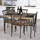 OKL Wooden Modern Dining Set for Home,Kitchen,Dining Room Storage Racks,Rectangular Table,Chairs,Steel Frame -(Old Wood, 43in Table)
