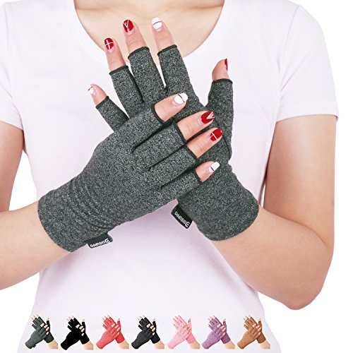 Arthritis Compression Gloves Relieve Pain from Rheumatoid, RSI,Carpal Tunnel, Hand Gloves Fingerless for Computer Typing and Dailywork, Support for Hands and Joints (Gray, Medium)