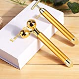 Face Massager Roller Golden 3D Roller Electric Energy Face Roller and T Shape Facial Massager Kit Anti Aging Wrinkles Instant Face Lift Skin Tightening