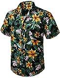 HISDERN Hombre Funky Hawaiana Floral Camisa Manga Corta Bolsillo Delantero Holiday Summer Aloha Printed Beach Casual Negro Naranja Hawaii Flower Camisas