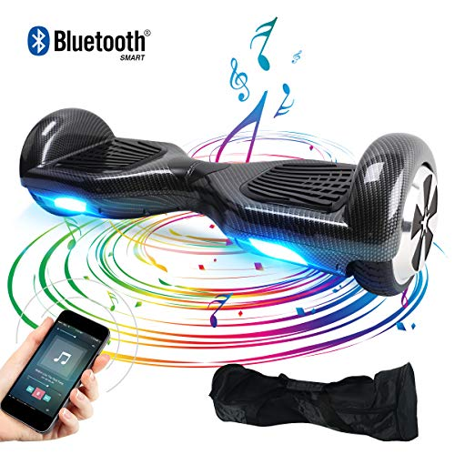 TOEUBEBK Hoverboard, 6.5 Zoll Self Balance Scooter mit LED Lights Elektro Scooter E-Skateboard (Carbon)