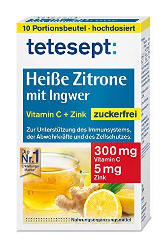 tetesept Heiße Zitrone mit Ingwer – Instant Pulver zuckerfrei mit Zink & Vitamin C - Abwehrkräfte und Immunsystem unterstützen – 1 Packung à 10 Beutel