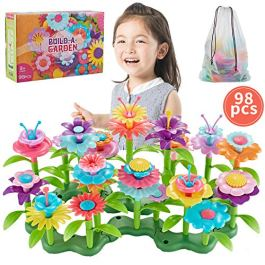 Bu-buildup BBU.01.002 Flower Building Toys, Garden Building Block, Pretend Gardening Toy, Creative Play Toy, 98 PCS Early Educational Toy, Build a Bouquet Floral Arrangement Playset for Kids 2 & Up