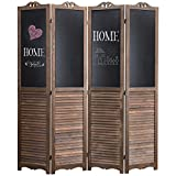 MyGift 4-Panel Rustic Wood Louvered Room Divider with Chalkboard Panels & Two-Way Hinges