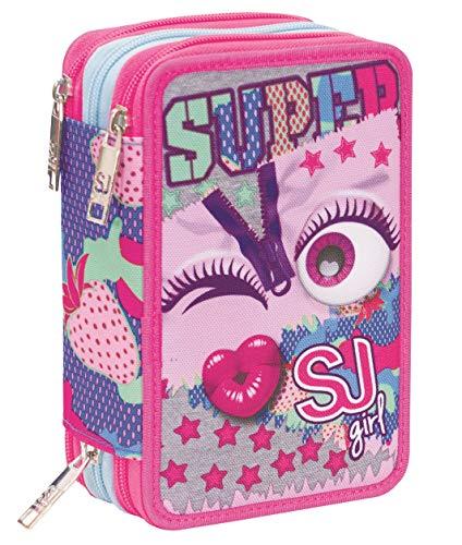 Astuccio 3 Scomparti SJ Gang, Facce da SJ, Rosa, Completo di penne, matite colorate, pennarelli