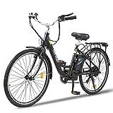 """Vélo électrique HITWAY 26"""" avec Moteur 250W, Modes de 7 Vitesses, vélos électriques e-Bike avec Batterie au Lithium Amovible 36V 10.4AH 50km"""