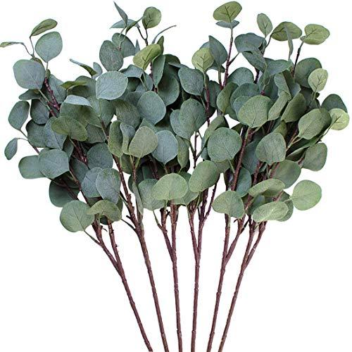 3 hojas de eucalipto Amkun de plata artificial en rama, de c