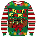 Graphic Printed Ugly Christmas Sweatshirt Red Green White Stripes Solid Green Colrful Fruit Cake Led Light Up Novelty Xmas Long Sleeve Crew Neck Pullover Sweaters T-Shirt