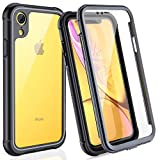 FITFORT iPhone XR Case Full Body Rugged Case with Built-in Touch Sensitive Anti-Scratch Screen Protector, Ultra Thin Clear Shock Drop Proof Impact Resist Extreme Durable Protective Cover