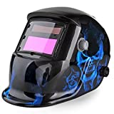 Flexzion Welding Helmet Auto Darkening Mask Hood (Ghost Flame), Solar Powered Shield Equipment with Weld & Grind Modes Manual Adjustable Shade Range 9-13 for Arc Gas Tig Mig Mma Grinding Plasma Cut