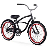 Firmstrong Urban Boy Single Speed Beach Cruiser Bicycle, 20-Inch, Black w/ Red Rims