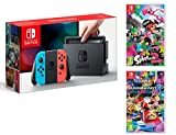 Console Nintendo Switch 32Gb + Manette Joy-Con droite/guche, support Joy-Con station d'accueil Nintendo Switch un câble HDMI, un adaptateur secteur Nintendo Switch - Une paire de dragonnes Joy-Con inclus: Mario Kart 8 Deluxe + Splatoon 2 Langues de v...