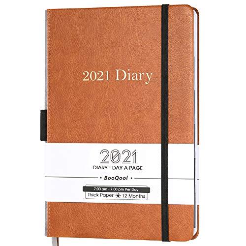 Kalender 2021 - Einem Tag pro Seite Produktivität Tageskalender von Januar 2021 bis Dezember 2021mit Monatlichen Registerkarten, Innentasche, Gebändert, 14,3 x 21 cm