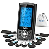 Dual Channel TENS EMS Unit 24 Modes Muscle Stimulator for Pain Relief Therapy, Electronic Pulse Massager Muscle Massager with 10 Pads, Dust-Proof Drawstring Storage Bag,Fastening Cable Ties