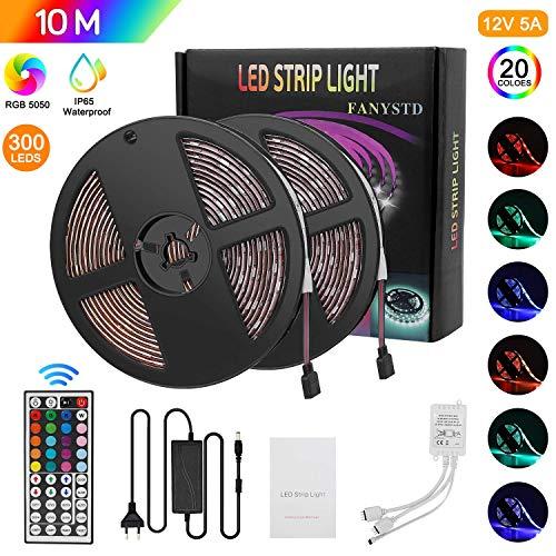 FANYSTD 10M Striscia LED 5050 RGB, Nastri LED con 300 LEDs, Impermeabile IP65, Alimentatore5A 12V, Telecomando a 44 Tasti Autoadesiva LED Strisce[Classe di efficienza energetica A+++]
