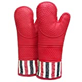 RED LMLDETA Heat Resistant 550 Degree Oven mitt, Silicone Oven Hot...