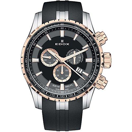 Edox Grand Ocean Herren-Armbanduhr 45mm Armband Kautschuk Schwarz Schweizer Quarz Analog 10226 357RCA NIR