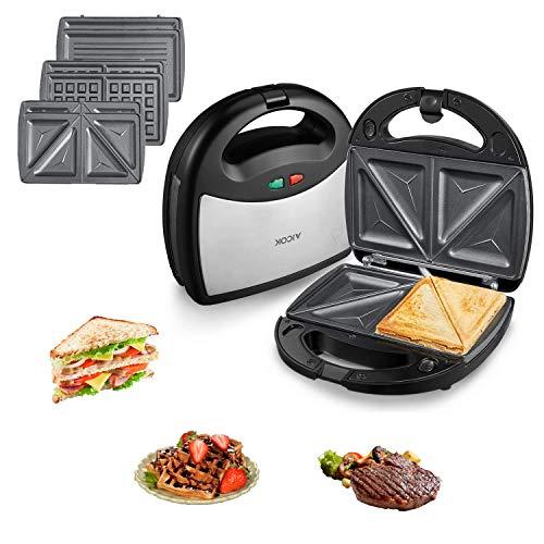 AICOK 3in1 800W Sandwichmaker(Sandwichtoaster, Waffeleisen, Kontaktgrill) 3 Wechselplatten, vertikal verstaubar, spülmaschinengeeignete&antihaftende Platten, Kontrollleuchte, Edelstahl, Schwarz