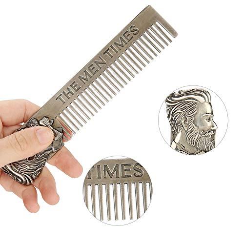 Pettine per capelli baffi da barba portatile in acciaio inossidabile antistatico di Cimenn