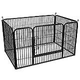 FEANDREA Parque para Mascotas, Jaula para Perros, Metal, Negro PPK04BK