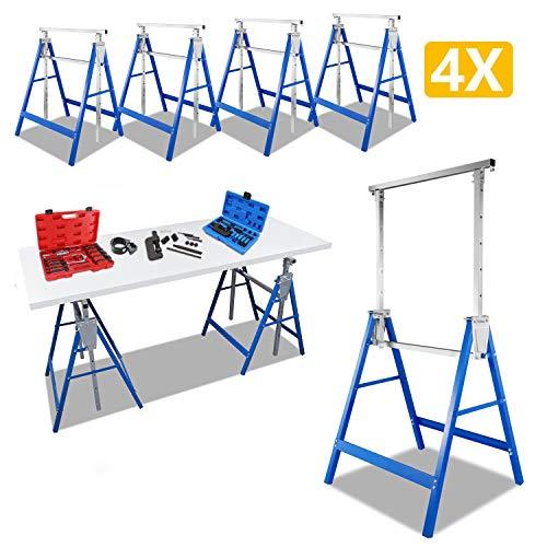 Hengda 4X Gerüstbock Stützbock Klappbock Böcke Gerüstböcke Werkzeugbank Höhenverstellbar mit Abrutschsicherung