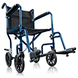 Hugo Portable Transport Wheelchair with Detachable Footrests, Midnight Blue