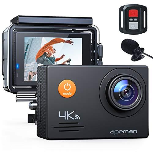 APEMAN Action Cam A79 PRO, 4K 20MP WiFi Impermeabile 40M con Telecomando e Microfono Esterno...
