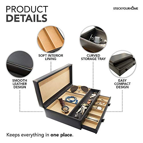 Product Image 7: Stock Your Home Watch Box with Valet Drawer for Dresser - Mens Jewelry Box with Multiple Compartments - Jewelry Case Display Organizer for Mens Jewelry Watches, Men's Storage Boxes Holder