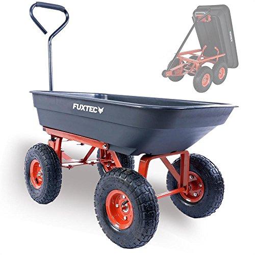 Fuxtec Kippwagen FX-KW2175 bis zu maximal 300kg Zuladung - max 150 kg bei gekippter Funktion, Transportwagen mit geschlossener Ladefläche ideal als Gartenkarre für ihre Geräte, inkl. großer Lufträder