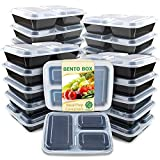 Enther Meal Prep Container 20 Pack 3 Compartments with Lids Food Storage Bento Box BPA Free/Reusable/Stackable Lunch Planning, Microwave/Freezer/Dishwasher Safe, Portion Control 36oz, black