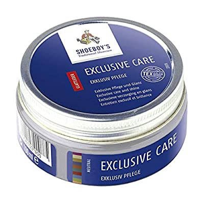 Use Shoeboy's Exclusive Care for all high-quality and sensitive smooth leathers as well as shiny and brushed leathers. Also suitable for shell cordovan. Active agents include beeswax, color activator, other refined special waxes, care agents and wate...