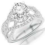 2.75 Carat 14K White Gold Eternity Love Twisting Split Shank Pave-Set Round Diamond Ring with a 2...