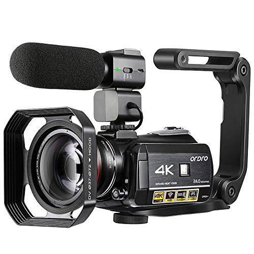 Videocamera 4K, Videocamera ORDRO AC3 Ultra HD Videocamera 1080P 60FPS WiFi e Videocamera per Visione Notturna IR 3.1 '' IPS Touch Screen Videocamere Digitali con Microfono Grandangolo Obiettivo