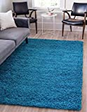 Unique Loom Solo Solid Shag Collection Modern Plush Turquoise Area Rug (6' 0 x 9' 0)