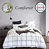 Wellboo White Comforter Sets Plaid Grid Twin Bedding Sets Cotton Big Large Plaid Pattern Quilts Reversible Black Geometric Checkered Comforter Women Men Teens Soft Warm Lightweight with 2 Pillowcases