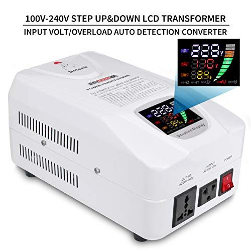 Beleeb Auto Step Up Step Down Voltage Transformer Converter 110-120 to 220-240 Volts Overload LED LCD Soft Start Circuit Breaker Protection AC 100V20%220V20% Power Converter 3000W [1-Year Warranty]