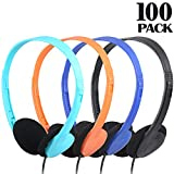 CN-Outlet Classroom Headphones 100 Pack in Bulk Multi Colored for School Kids, Wholesale On Ear Earphones 3.5mm Pulg Compatible with iPad Computer Chromebook Tablet