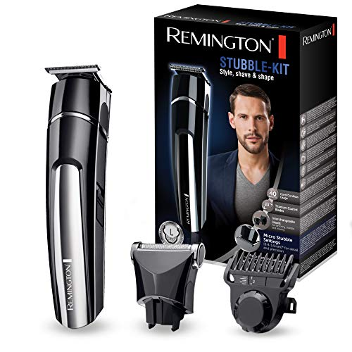 Remington Barttrimmer Set Herren MB4110 (inkl. 2 Aufsteckköpfe: Präzisionsklinge&Folienrasieraufsatz, Netz-/Lithium Ionen Akkubetrieb, USB-Ladefunktion inkl. Kabel + Tasche) Bartschneide Set