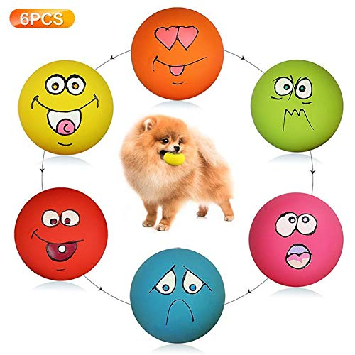 HDSX Puppy Dog Toys Teeth Squeaker Ball Puppy Squeaky Sound Face Fetch Play Toy 6 Pcs/Set