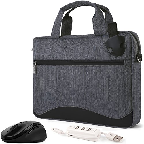Slim Black Anti-Theft Laptop Bag, Hub, Mouse 14 15.6 inch for Dell Latitude, Inspiron, Precision, XPS Vostro, G3 G5 G7