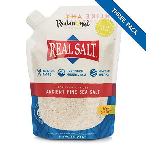 Redmond Real Salt - Ancient Fine Sea Salt, Unrefined Mineral Salt, 16 Ounce Pouch (3 Pack)