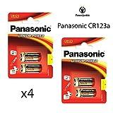 X4Panasonic CR123A 3V batterie au lithium Photo...