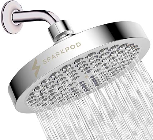SparkPod Shower Head - High Pressure Rain - Luxury Modern Chrome Look - Easy Tool Free Installation - The Perfect...