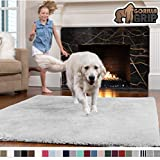 Gorilla Grip Original Faux-Chinchilla Rug, 5x7 Feet, Super Soft and Cozy High Pile Washable Carpet, Modern Rugs for Floor, Luxury Shaggy Carpets for Home, Nursery, Bed and Living Room, Light Gray