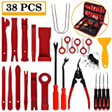 Manfiter 38Pcs Trim Removal Tool, PryKit Car Panel Tool Radio Removal Tool Kit, Auto Clip Pliers Fastener Remover Pry Tool Kit, Car Upholstery Repair Kit, Prying Tool Kit with Storage Bag