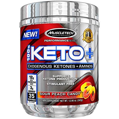 MuscleTech 100% Keto Plus Ketones Supplement, Exogenous Ketones & Aminos, Sour Peach Candy, 35 Servings (342g) 3